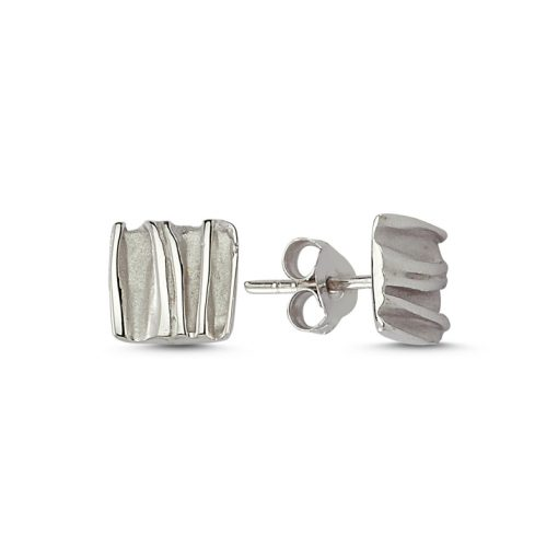 Stoneless Square Earring - Turkish Silver Jewelry - BOW-4237