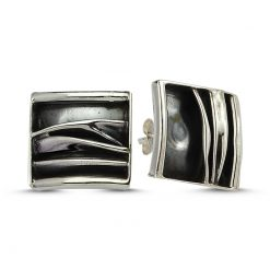 Stoneless Square Earrings - Turkish Silver Jewelry - BOW-4240