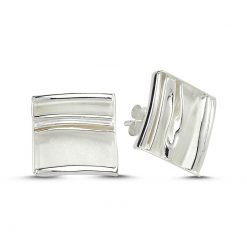 Stoneless Square Earrings - Turkish Silver Jewelry - BOW-4243