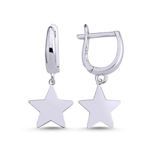 Stoneless Star Charm Earrings - Turkish Silver Jewelry - BOW-4264
