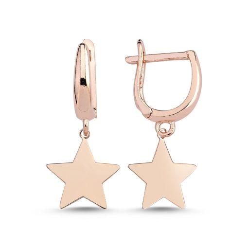 Stoneless Star Charm Earrings - Turkish Silver Jewelry - BOW-4265