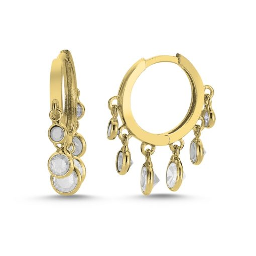 Swarovski Charm Earrings - Turkish Silver Jewelry - BOW-4372