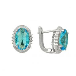 Swarovski Earrings - Turkish Silver Jewelry - BOW-4373