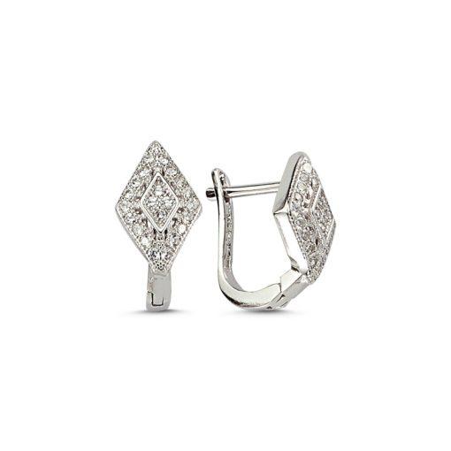 Swarovski Earrings - Turkish Silver Jewelry - BOW-4512