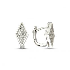 Swarovski Earrings - Turkish Silver Jewelry - BOW-4522