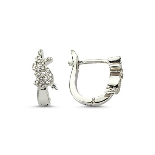 Swarovski Earrings - Turkish Silver Jewelry - BOW-4524