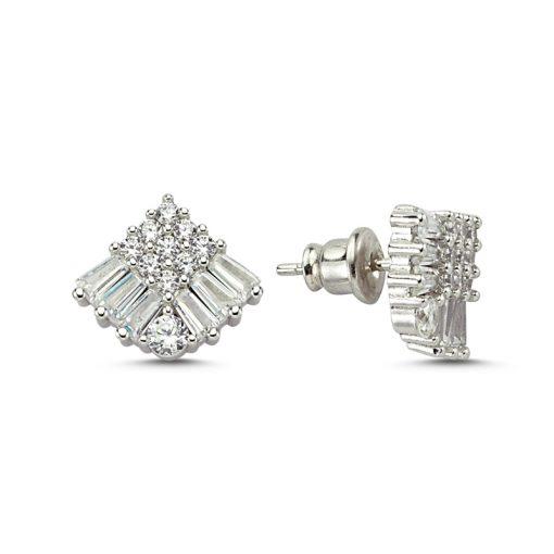 Swarovski Earrings - Turkish Silver Jewelry - BOW-4534