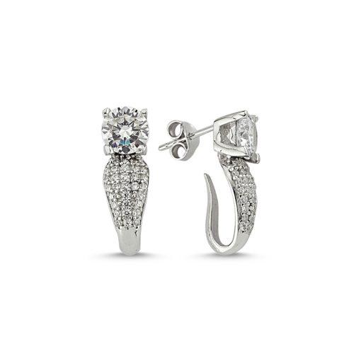 Swarovski Earrings - Turkish Silver Jewelry - BOW-4561