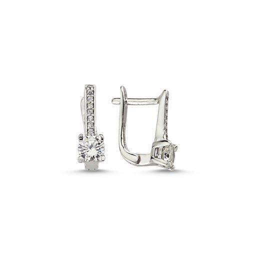 Swarovski Earrings - Turkish Silver Jewelry - BOW-4565