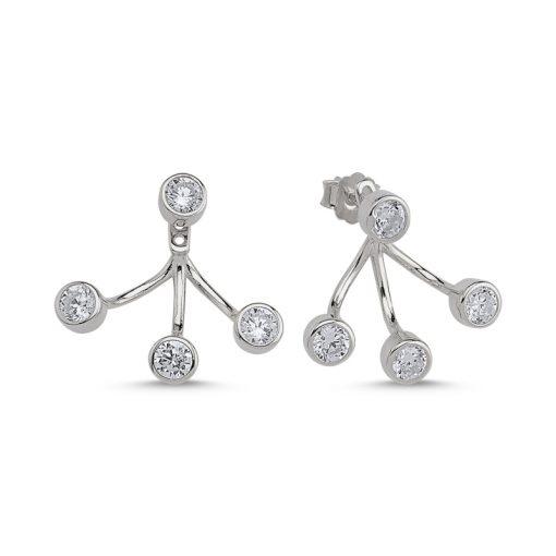 Swarovski Earrings - Turkish Silver Jewelry - BOW-4650