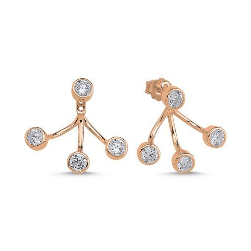 Swarovski Earrings - Turkish Silver Jewelry - BOW-4651