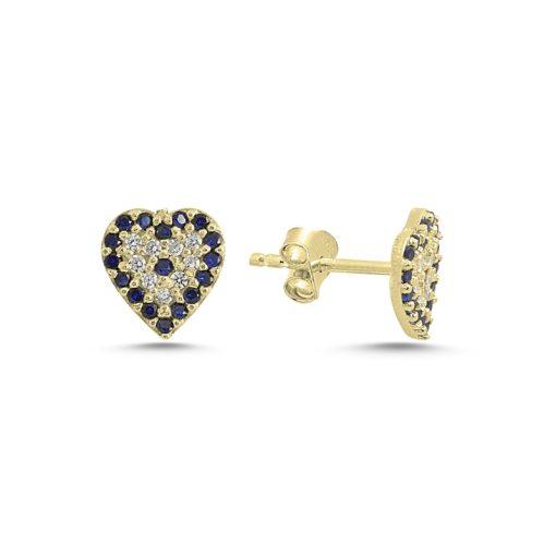 Swarovski Evil Eye Heart Stud Earrings - Turkish Silver Jewelry - BOW-4568