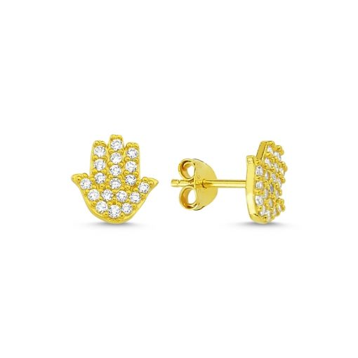 Swarovski Hamsa Stud Earrings - Turkish Silver Jewelry - BOW-4598