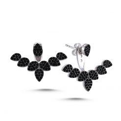 Swarovski Pear Design Double Earrings - Turkish Silver Jewelry - BOW-4474