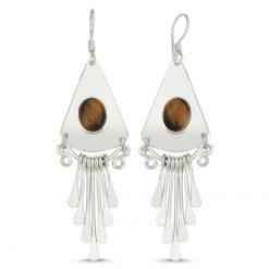 Tiger's Eye Handmade Earrings - Turkish Silver Jewelry - BOW-4063