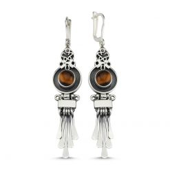 Tiger's Eye Handmade Earrings - Turkish Silver Jewelry - BOW-4074