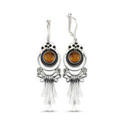 Tiger's Eye Handmade Earrings - Turkish Silver Jewelry - BOW-4080