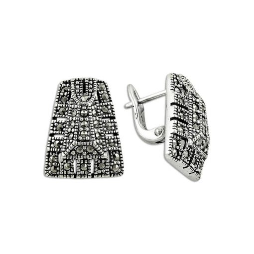 Turkish Silver Marcasite Earrings - Turkish Silver Jewelry - BOW-4139