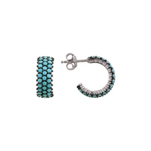 Turquoise Swarovski 3 Line Eternity Hoop Earrings - Turkish Silver Jewelry - BOW-4397