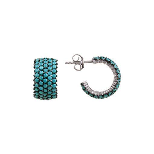 Turquoise Swarovski 5 Line Eternity Hoop Earrings - Turkish Silver Jewelry - BOW-4398