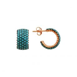 Turquoise Swarovski 5 Line Eternity Hoop Earrings - Turkish Silver Jewelry - BOW-4399