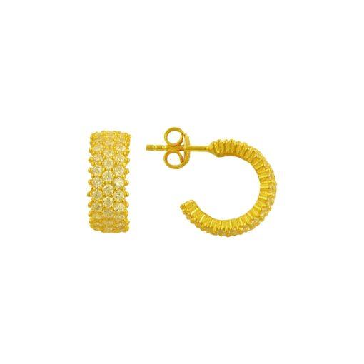 White Swarovski 3 Line Eternity Hoop Earrings - Turkish Silver Jewelry - BOW-4469