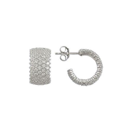 White Swarovski 5 Line Eternity Hoop Earrings - Turkish Silver Jewelry - BOW-4403