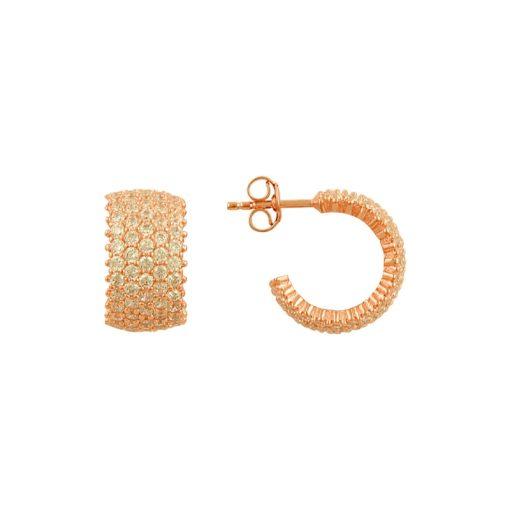 White Swarovski 5 Line Eternity Hoop Earrings - Turkish Silver Jewelry - BOW-4472