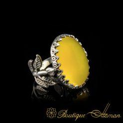Original Yellow Aqeeq D Shape Hand Made Women Flower Ring