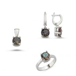 Zultanite Color Change Turkish Stone-Round Cut Zultania Solitaire Set