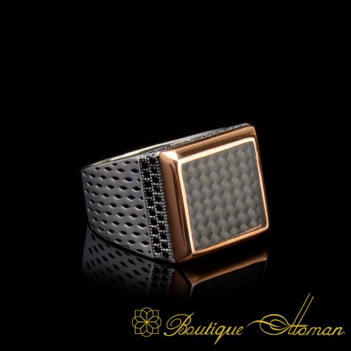Black Carbon Fiber Square Modern Men Ring