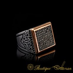 Black Swarovski Covered Classic Square Men Ring
