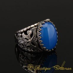 Blue Aqeeq Silver Men Ring