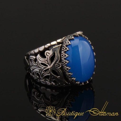 Blue Aqeeq Silver Men Ring