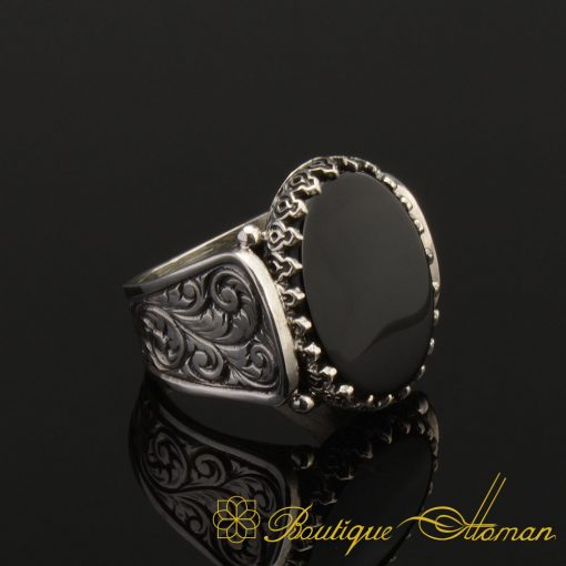 Hun Collection Black Onyx Silver Men Ring