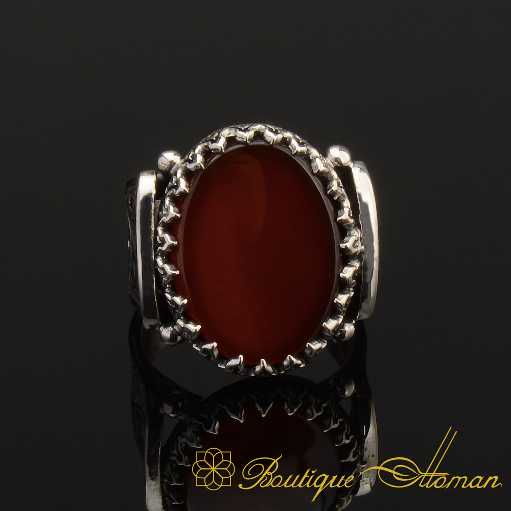 Details about  /Red AGATE Mens Ring 925 Sterling Silver ArtDeco Handmade Gemstone Ring all sz