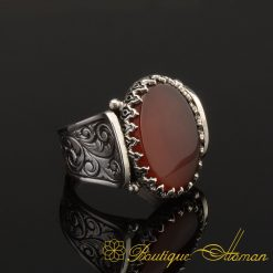 Hun Collection Flat Red Agate Silver Men Ring