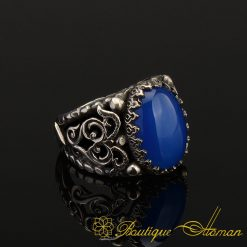 Genuine Blue Aqeeq Men Ring in Silver