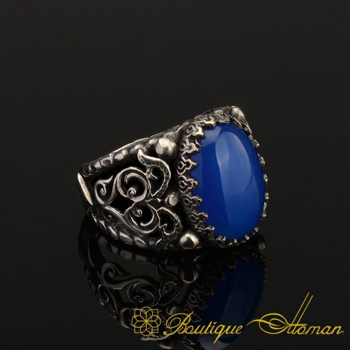 Genuine Blue Aqeeq Men Ring in Silver