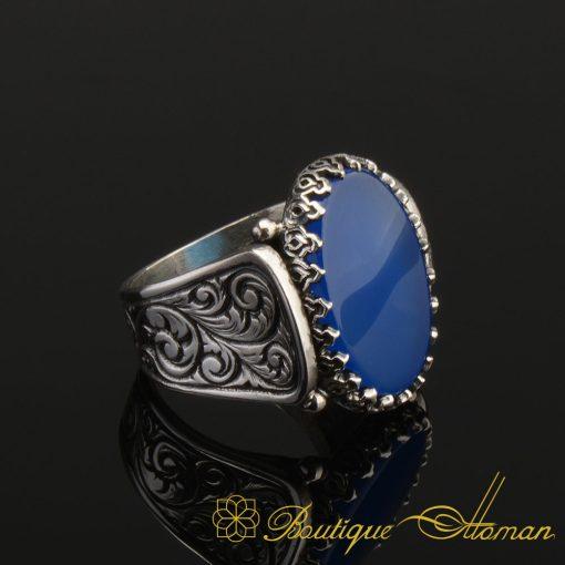 Hun-Collection-Flat-Dark-Blue-Agate-Silver-Men-Ring