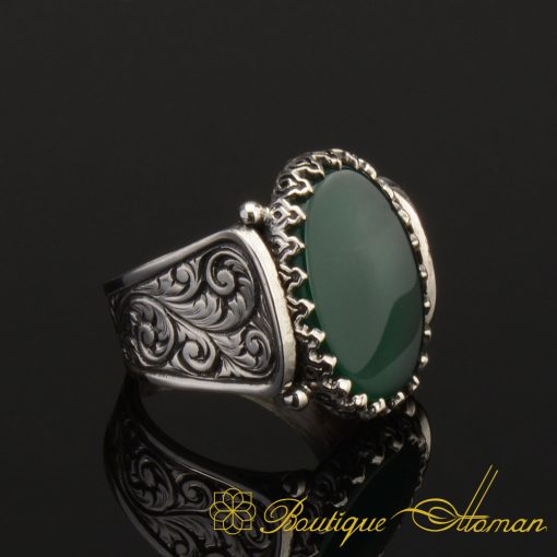 Hun-Collection-Flat-Green-Agate-Silver-Men-Ring-1