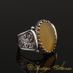 Hun Collection Yellow Flat Agate Silver Men Ring