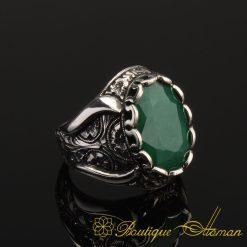 Handcraft Natural Emerald 925 Silver Men Ring