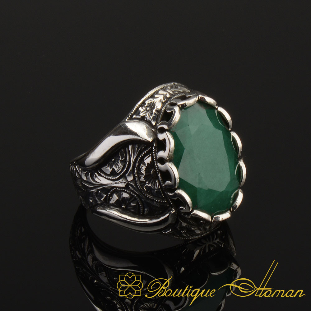 Silver Ring,Ottoman Style Ring Sterling Silver 925 Emerald Handmade Set Ottoman Style Set Gift for her Silver 925 Ring Earring Emerald