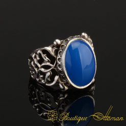Rare Blue Aqeeq Silver Men Ring