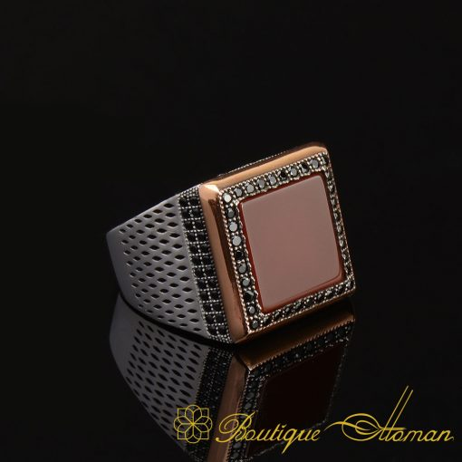 Red Flat Agate Stone Square Classic Ring