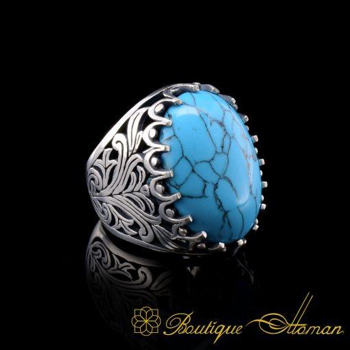 Big Size Blue Ferooza OvalTurquoiseSilver Classic Ring