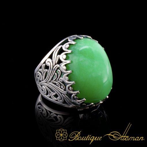 Big-Light-Green-Agate-Aqeeq-Classic-Silver-Men-Ring-3067-5-1