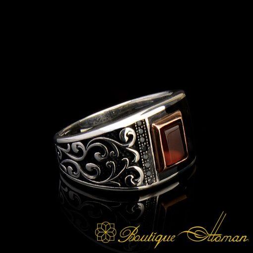 Elegance Asymmetry Silver Band Ring Smoky Black