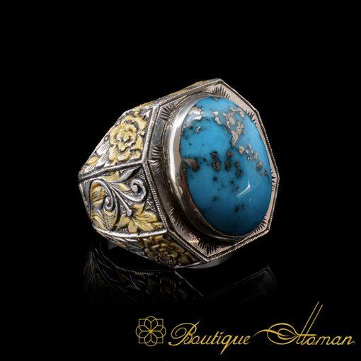 Original-Feroza-Turquoise-Handmade-Silver-Ring-6023-1